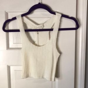 Ribbed ivory racer back tank top NWT